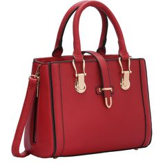 SheIn(sheinside) Red Buckle Zipper PU Shoulder Bag (2.250 RUB) ❤ liked on Polyvore featuring bags, handbags, shoulder bags, red, red handbags, buckle purses, convertible purse, red shoulder bag and zipper purse