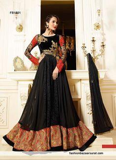 Malaika Arora Khan Black Designer Anarkali Suit
