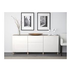 BESTÅ Storage combination with doors - white/Selsviken high-gloss/white - IKEA In this configuration (leg, door, and color and finish options) we get an elegant look that works with the size of the room and TV for less than half the price of alternatives. Soft Closing Hinges, Frame Shelf, Ikea Family, Ikea Us, Design Your Life, Interior Accessories, Adjustable Shelving, Storage Spaces, Ikea Storage