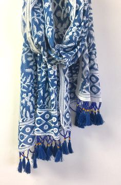 Block Print Scarf with Beads