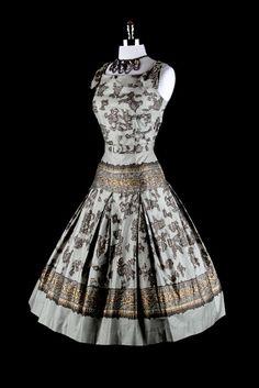 1950s 50s Vintage Dress --- Gray Gold Damask Greek Print Full Skirt Cotton Sun Party Garden Wedding Belt