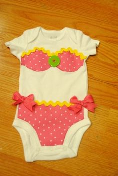 Bikini Applique Onesie so darling! The Babys, Charlotte Baby, Baby Bikini, Sewing For Kids, Baby Sewing, Applique Onesie, Diy For Girls, Baby Crafts, Kind Mode