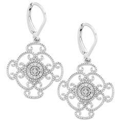 Roma Designs Sterling Silver CZ Filigree Scroll Leverback Earrings #earrings #jewelry