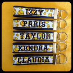 Personalized Key Chains: Softball, Baseball, Basketball, Football, Soccer, and Volleyball. Great team gifts via Etsy