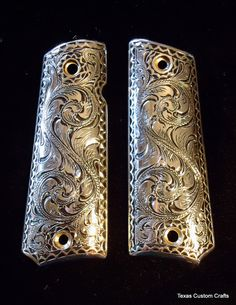 1911 Pistol Grips with Full Hand Engraved by texascustomcrafts