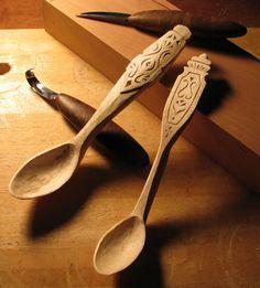 Pair of wooden spoons carved by Kari Hultman