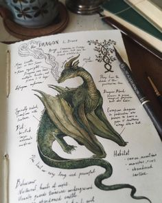 """The Dragon"" L. Draco(nem) Illustrated Journal Page. Waking up to a long awaited rainfall this morning gave me a newfound source o… in 2019 Fantasy Creatures, Mythical Creatures, Art Watercolor, Drawn Art, Arte Sketchbook, Witch Aesthetic, Nature Journal, Journal Pages, Journals"