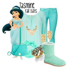 """""""Jasmine Fall Days"""" by murphylovesturtles ❤ liked on Polyvore featuring even&odd, Wallis, Cara Accessories, Palm Beach Jewelry, Auden, UGG Australia and MANGO"""