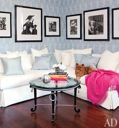 Love everything!  The art, the pale blue, the pop of pink and the table and flooring.  All of it!  Love, love, love! <3