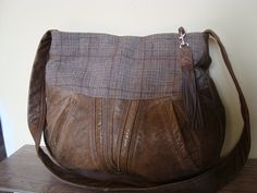 bag with recycled leather and wool/ crossbody bag by BagsBand