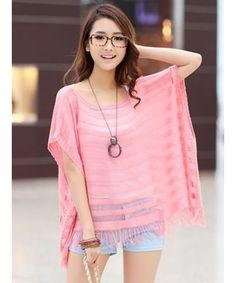 Pink Women Korean Fashion Hollow Summer New Knitting All Matching Blouse T6005p