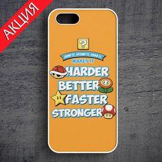 """Harder, Better, Faster, Stronger, Mario"" Case for iPhone 4/4S, 5/5S, 6. Worldwide shipping. Store's url http://vk.com/market-71763847"