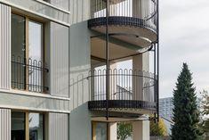 VETTER SCHMID Architekten | Wohnhaus-Kloten Balustrade Balcon, Layout, Metal Working, Balcony, Facade, Stairs, Exterior, Windows, Doors