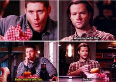 "Supernatural 11x12 Don't You Forget About Me // ""The Elvis"" with two donuts"