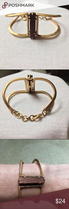 J Crew Bracelet Hammered brass with wood and crystal accents. Never worn. J. Crew Jewelry Bracelets