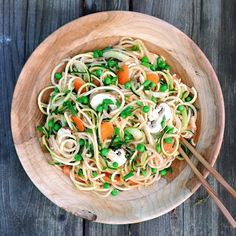 This Asian inspired veggie noodle dish really hit the spot! Spiralized zucchinis, chayote, & cucumber with sliced carrots, celery, mush...