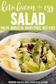 This Warm Bacon and This Warm Bacon and Egg Salad is the most delicious keto dinner recipe! This salad is low-carb keto dairy-free paleo nut-free coconut-free gluten-free grain-free sugar-free and contains only grams of net carbs per serving! Low Carb Dinner Recipes, Keto Dinner, Diet Recipes, Healthy Recipes, Salad Recipes, Whole30 Recipes, Ketogenic Recipes, Diabetic Recipes, Healthy Foods