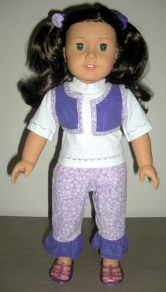 18 Inch Doll Clothes - American Girl - 5 Piece Purple and White ,T- Shirt, Reversible Vest, Ruffled Hem Capris, Covered Button Hair Elastics. $14.00, via Etsy.