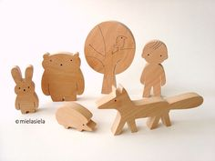 Wooden toy - boy and forest friends - woodland animals - wooden forest animals - Gift ideas