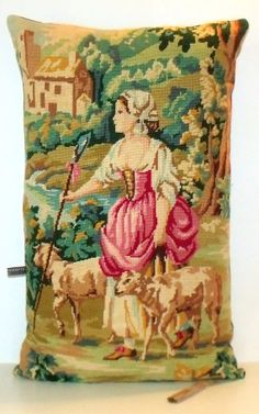 UNIQUE French Vintage Needlepoint Tapestry La by Retrocollects