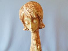 Tall Quadrifoglio Italian Art Pottery Woman Figure Mid Century Modern Flower