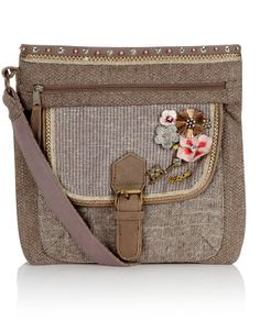 Tweed Charm Saddle Bag | Taupe | Accessorize ($44)  For European travel....?