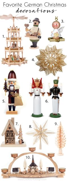 Friday Favorites: German Christmas Decorations favorite German Christmas Decorations: candle arches, nut crackers, incense smokers, Christmas pyramids, shaved trees and star stars and ornaments via Cuckoo 4 Design German Christmas Traditions, German Christmas Decorations, German Christmas Pyramid, German Christmas Ornaments, German Christmas Markets, Christmas Candles, Modern Christmas, Scandinavian Christmas, Christmas Holidays