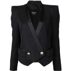 Balmain Black Tuxedo Strong Shoulder Vest (€710) ❤ liked on Polyvore featuring outerwear, jackets, blazers, balmain, tops, black, blazer jacket, wool tuxedo, tux blazer and balmain jacket