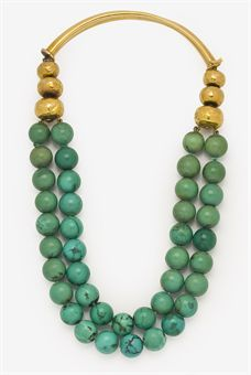 A TURQUOISE AND GOLD NECKLACE, BY RENE BOIVIN, 1950.