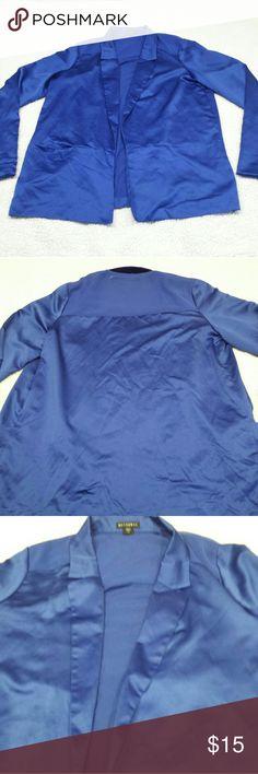 Metaphor cardigan blazer open front size L Beautiful royal blue open front cardigan/blazer with sheer back across shoulders. Also with pockets. Metaphor Jackets & Coats Blazers