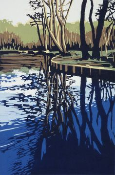Trow Pool Reflection, Linocut by Alexandra Buckle   Artfinder