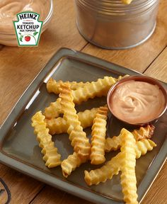 Enjoy delicious french fries without the messy oil fryer with these easy Air-Fryer French Fries! Served with delicious Heinz Mayochup (half ketchup, half mayo - all delicious), these Air-Fryer French Fries are great paired with burgers and hot dogs. Ketchup, Air Fryer French Fries, French Fries Recipe, Recipe Please, Cooking Instructions, Mets, 20 Min, Nutrition Information, Home Recipes