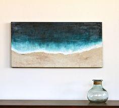 Plage original art abstrait peinture acrylique sur toile