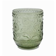 Set of 4 Old Style Green Embossed Tumblers or Drinking Glasses