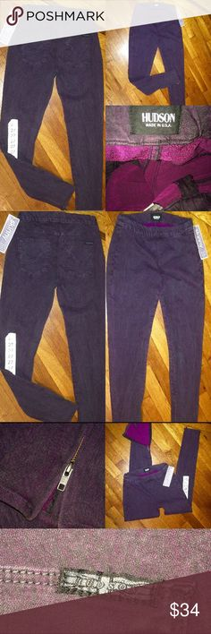 "HUDSON JEANS💜""NWT"" SUPER STRETCHY💞 JEGGING JEANS ""BRAND NEW WITH TAGS"" HUDSON JEANS🇬🇧SUPER STRETCHY JEGGING JEANS.. THESE JEANS ARE A ""SIZE 27"" WITH AN INSEAM OF 28""💜 THEY HAVE TWO REAR POCKETS AND HAVE ZIPPERED ANKLES. THEY ARE PULL ON....WITHOUT THE ZIPPER FRONT😉💛WIDE ELASTIC WAIST FOR COMFORT. THEY ARE 98% COTTON AND 2% ELASTENE💞 THE COLOR IS A DEEP PLUM💜 THESE ARE GREAT JEANS💛 CAN BE WORN CASUAL....WITH BOOTS AND A NICE SWEATER OR DRESSED UP WITH HEALS AND A NICE BLOUSE💜…"