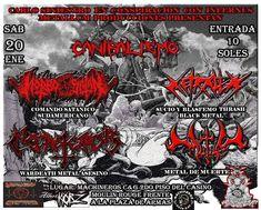 """""""METALHOUSE"""": CANIBALISMO 20/01/18 en Chimbote: CANIBALISMO SINIESTRO Los mutantes de Chimbote, Perú están realizando el primer concierto extremo del norte de Perú con bandas super sónicas y brutales como MORBOSATÁN (Lima), NECROTERROR (Trujillo), METRALLA y MUTILA de Nuevo Chimbote para el sábado 20 de enero 2018.  #Canibalismo  #Morbosatan #Mutila  #Metralla #Necroterror #EnMachineros #Chimbote #InfernusMetallum #Korz  #CrucifixionesDestruction  https://t.co/UUdqCvSOcI"""
