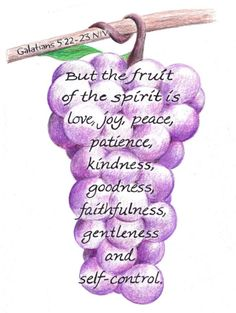 Fruit of the vine drawing inspirational bible by LindaRobbsArt, $10.00