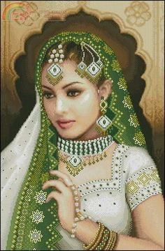 0 point de croix fille orientale voile vert - cross stitch oriental girl with green veil