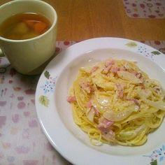 今日のハーブソルト要員は野菜スープです - 8件のもぐもぐ - 8月27日 カルボナーラ 野菜スープ by sakuraimoko