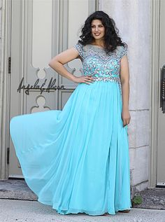 2014 Plus Size Prom Dresses Sparkle Shining Beaded Bodice Sheer Scoop Neck With Capped Short Sleeves Back Zipper Chiffon Evening Dress
