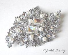 pearl bridal hair comb wedding hair comb by nefertitijewelry2009, $35.50