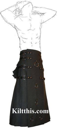 Long Black Gothic Steampunk Utility Kilt Custom Fit by KiltThis, $425.00