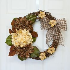 Grapevine Wreath with Giraffe Print Dahlias and Ivory Hydrangea Floral Arrangement with Latice Ribbon Bow - Door Wreath - Home Decor -