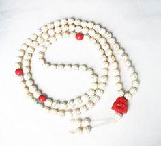 108 Turquoise Red White Ball & Red Buddha Beads Prayer Mala Necklace 1069
