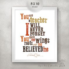 Teacher Appreciation Print / End of Year Teacher Gift Ideas / Thank You Typography / Orange and Blue / Roots Wings Believe // 8x10 on Etsy, $15.00