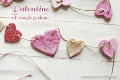 Salt dough garland for Valentine's Day