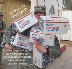 Loved one deployed? Please sign him/her up to receive an Operation Gratitude care package: http://www.operationgratitude.com/request-a-package/individual-request-form/  ALSO: Please help us win a professionally-produced TV ad from Intuit! Vote today: https://www.smallbusinessbiggame.com/CA/Operation-Gratitude/384597