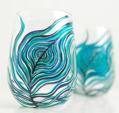 Peahen Peacock Feather Stemless Wine Glasses-Set of 2 for $60 by Mary Elizabeth Arts