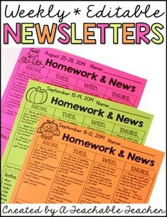 Newsletter TemplateNewsletter Templates Editable is the easiest way to plan and print your homework newsletters for the entire year!After showing a picture of my weekly homework and newsletter on Instagram, I received tons of requests for an editable version!