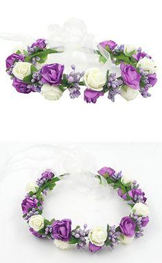 Fashion Pretty Wedding DIY Paper Rose Flower Crown Floral Headdress Headband Headpiece Halo Tiara Hair Accessories Head Garland Wreath for Brides Girls Bridesmaids Boho Style Purple Mix Ivory Bicolor